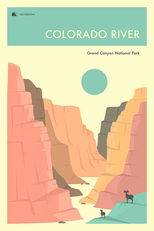 National Park Digital Art - The Colorado River by Jazzberry Blue