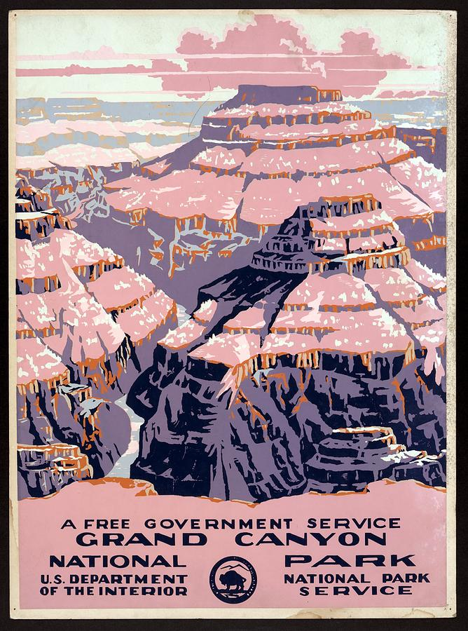 Grand Canyon - National Park - United States - Retro Travel Poster - Vintage Poster Mixed Media