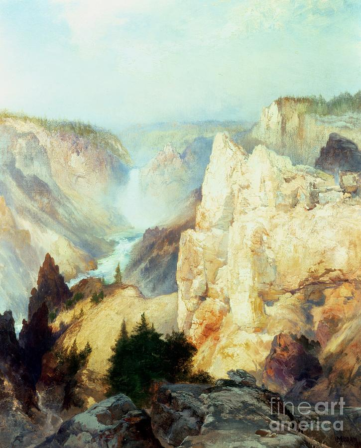 Grand Canyon Of The Yellowstone Park (oil On Canvas) By Thomas Moran (1837-1926) Thomas Moran Painting - Grand Canyon Of The Yellowstone Park by Thomas Moran