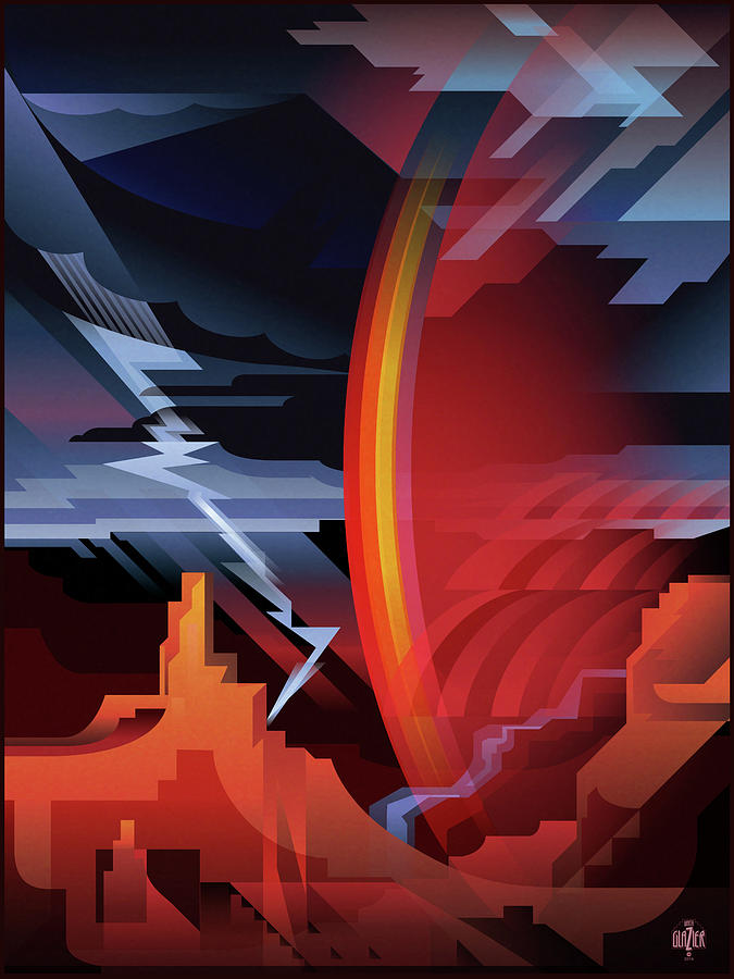 Grand Canyon Digital Art - Grand Canyon Storm Of Pima Point by Garth Glazier