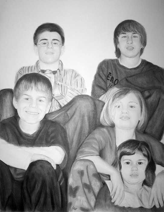 Family Portraits Painting - grand children-  COMMISSIONED PIECE by Joseph Ogle