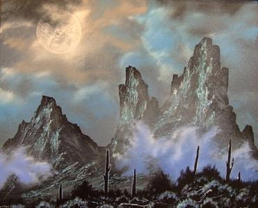 Mountains Painting - Grand Desert Night by Victor Kirton
