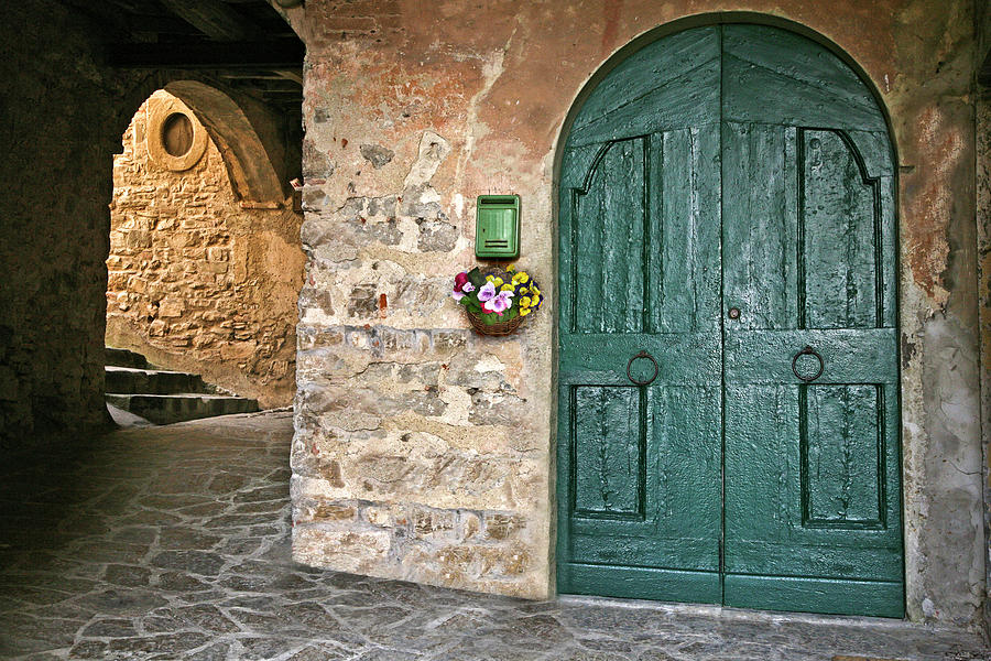 Grand Green Door Montefioralle Tuscany Italy by Lilia Maloratskiy