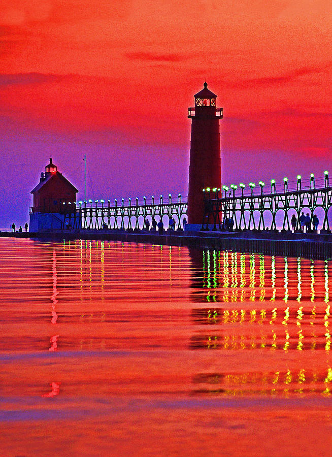 Usa Photograph - Grand Haven Lighthouse by Dennis Cox