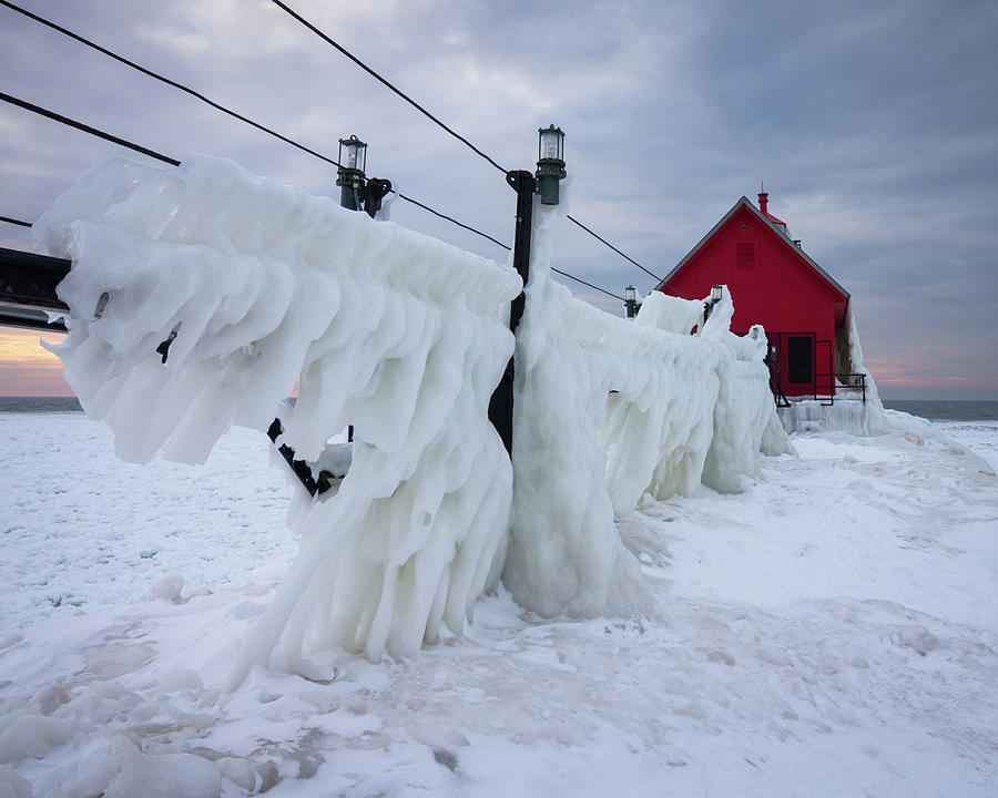 Grand Photograph - Grand Haven Lighthouse With Ice by Kimberly Kotzian