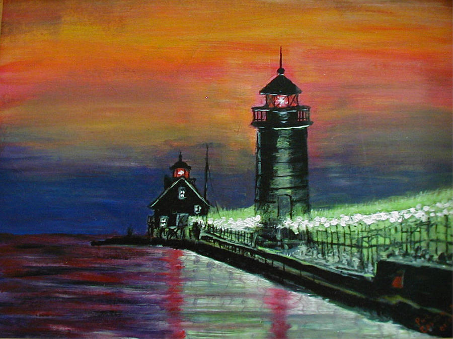 Lighthouse Painting - Grand Haven Lights by Phil Cashdollar
