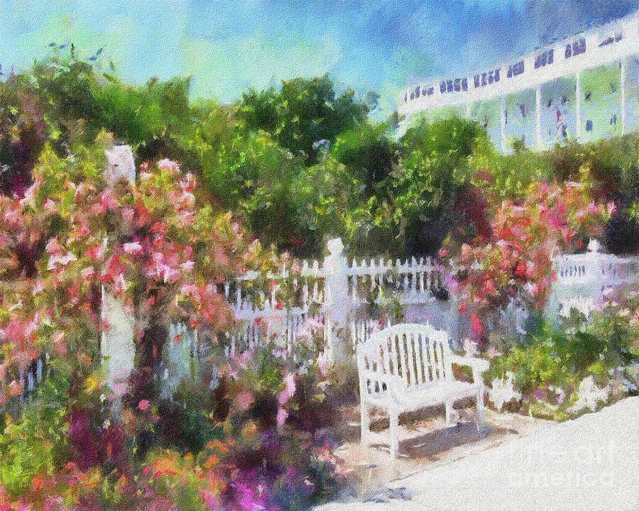 Grand Hotel Painting - Grand Hotel Gardens Mackinac Island Michigan by Betsy Foster Breen