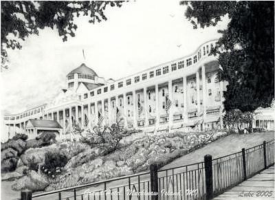 Grand Hotel Drawing - Grand Hotel Mackinac Island 1887 by Luke Lauch