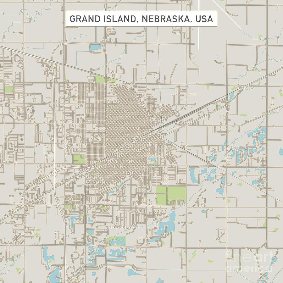 Grand Island Digital Art - Grand Island Nebraska Us City Street Map by Frank Ramspott