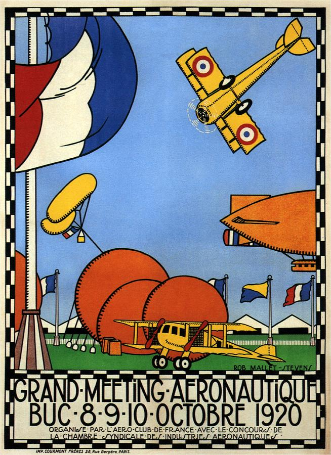 Grand Meeting Aeronautique - French Airshow - Retro Aviation Poster - Vintage Poster Mixed Media