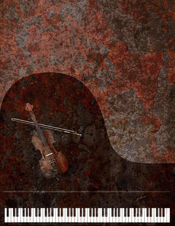 Grand Piano and Violin Grunge Background by Jit Lim