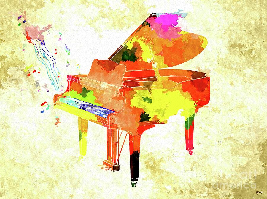 Grand Piano Colored Grunge Mixed Media By Daniel Janda