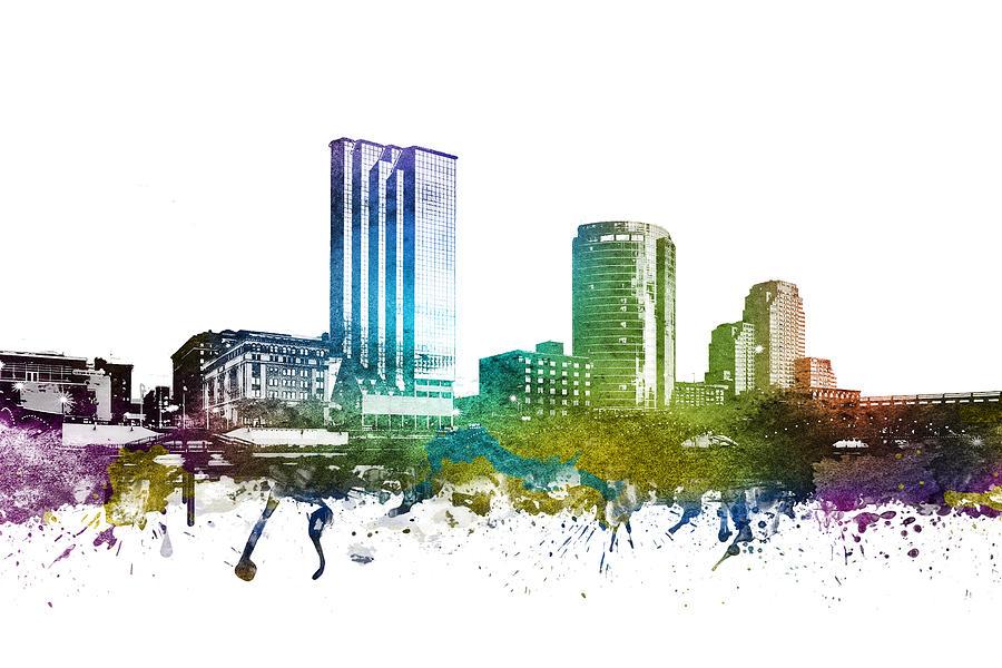 Grand Rapids Digital Art - Grand Rapids Cityscape 01 by Aged Pixel