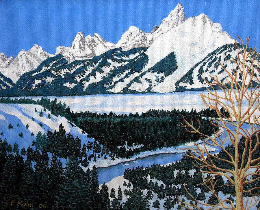 Landscape Paintings Painting - Grand Teton by Frederic Kohli