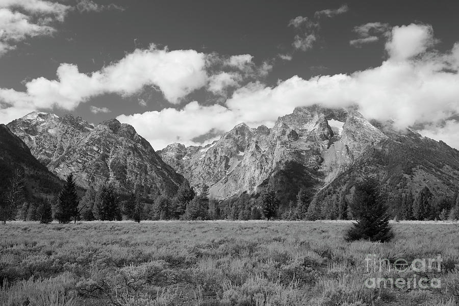 Grand Tetons Photograph - Grand Tetons In Black And White by Bruce Block