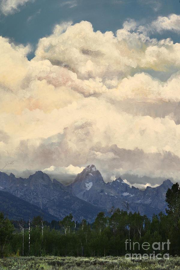 Grand Tetons Digital Art - Grand Tetons  Sky by Suzette Kallen