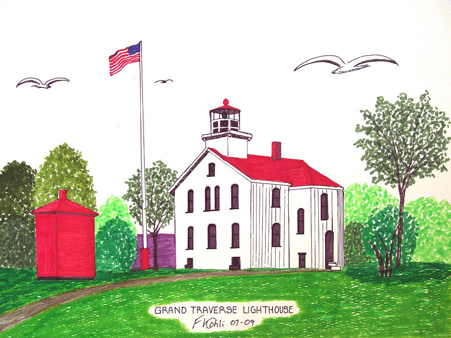 Lighthouse Drawings Drawing - Grand Traverse Lighthouse by Frederic Kohli