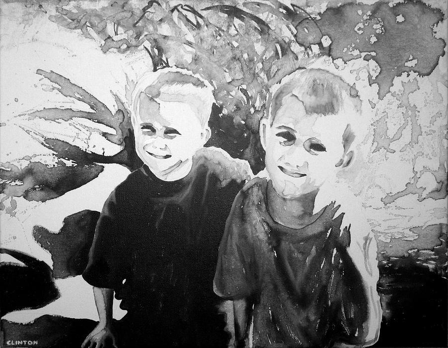 Children Painting - Grandchildren by Robert Clinton