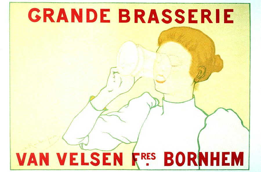 Vintage Mixed Media - Grande Brasserie - Bornhem, Belgium - Vintage Advertising Poster by Studio Grafiikka