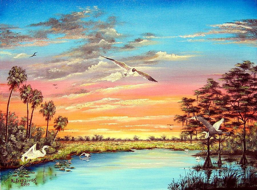 Blue Painting - Grandeur Of The Glades by Riley Geddings