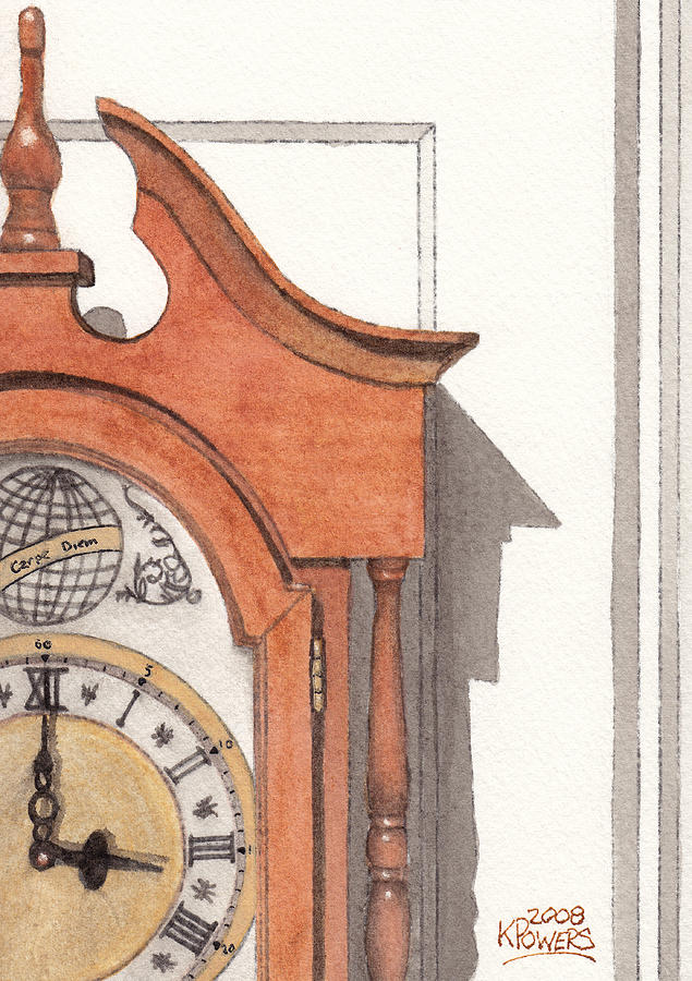 Watercolor Painting - Grandfather Clock by Ken Powers