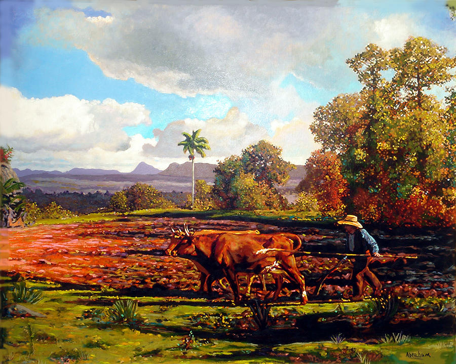 Grandfather Farm Painting by Jose Manuel Abraham