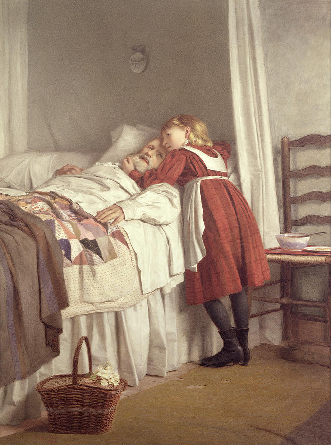 Bed Painting - Grandfathers Little Nurse by James Hayllar