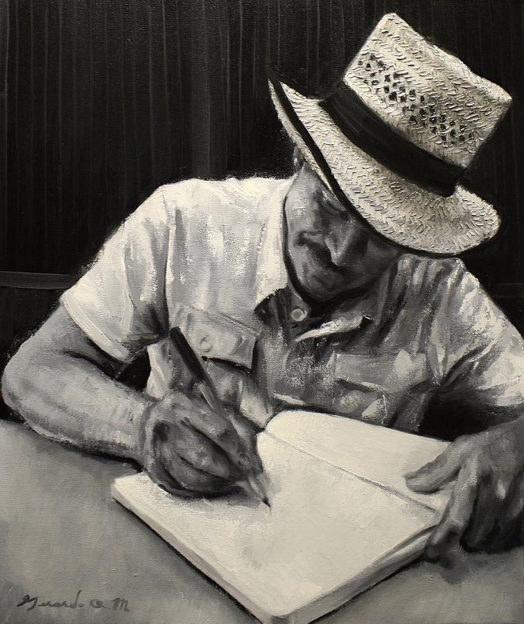 Straw Hat Painting - Grandfathers Straw Hat .2015 by Gerardo R Madrigal