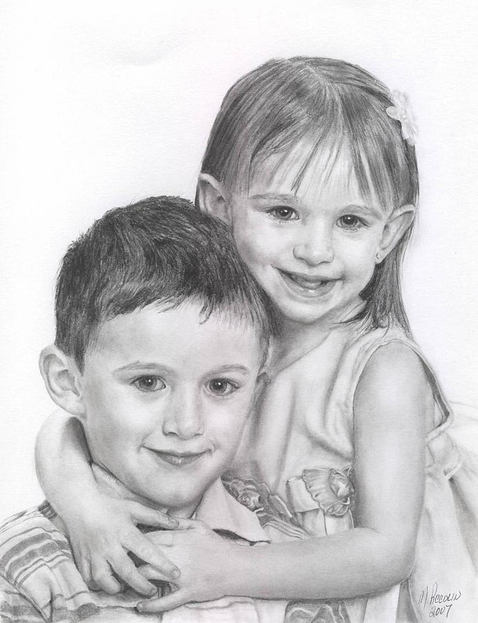 Children Drawing - Grandkids Of A Friend by Marlene Piccolin