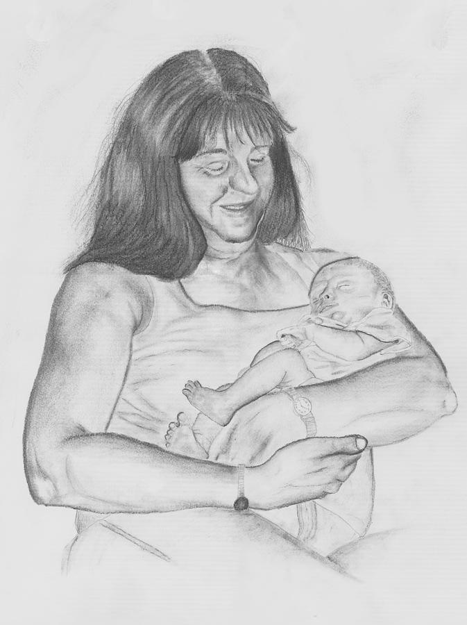 Drawing Drawing - Grandma And Grandchild by Russ  Smith