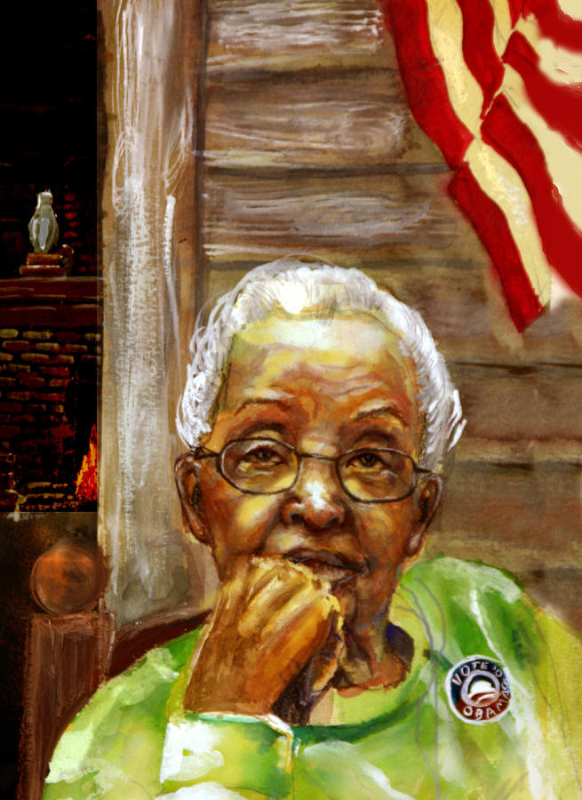 Portrait Painting - Grandma For Obama by Gary Williams