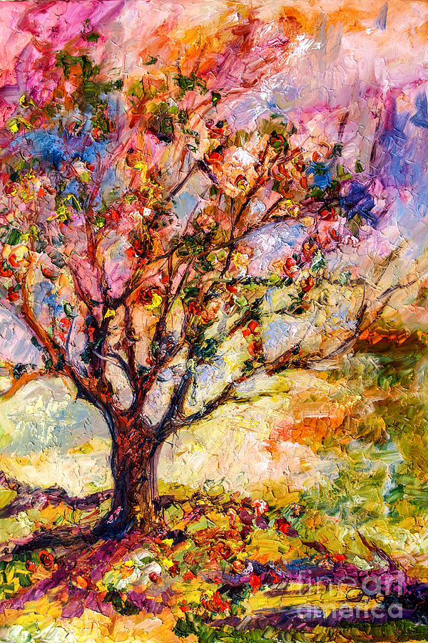 Grandmas Apple Tree Oil Painting Painting by Ginette Callaway