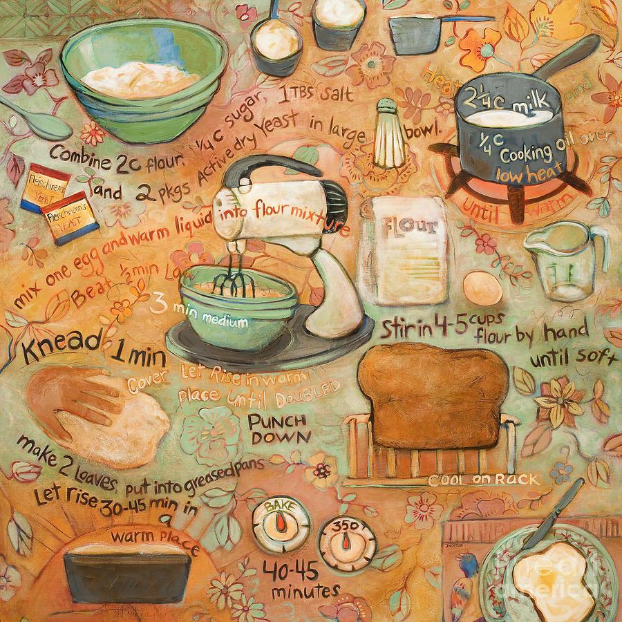 Acrylic Painting Painting - Grandmas Bread Recipe by Jen Norton