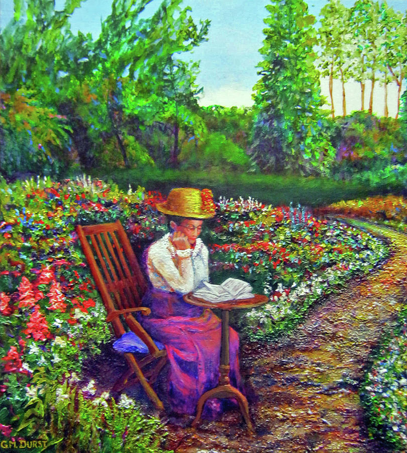 Garden Painting   Grandmas Garden Path By Michael Durst