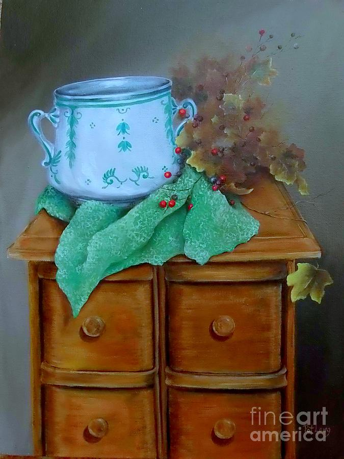 Sewing Chest Painting - Grandmas Sewing Chest by Patricia Lang