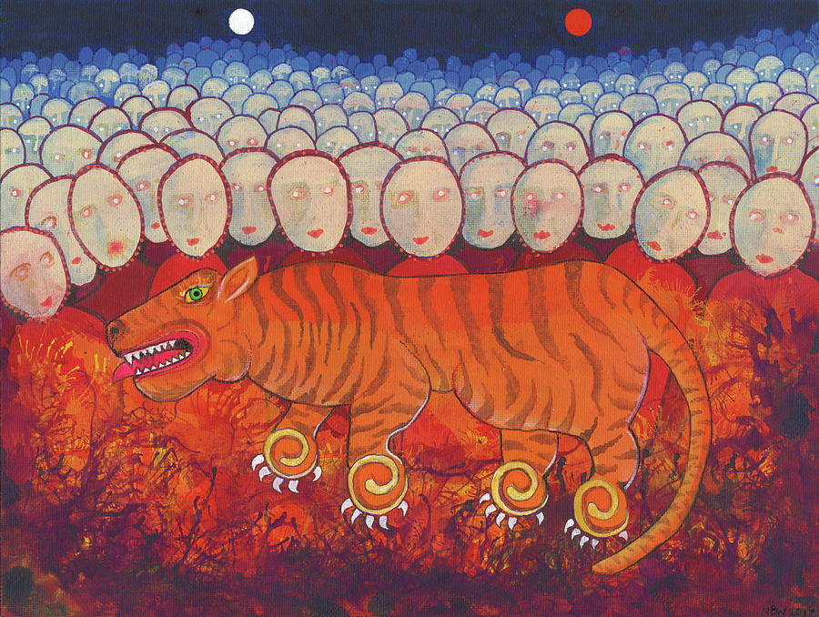 Tiger Painting - Grandmothers of the Tiger Clan by Nicholas Breeze Wood