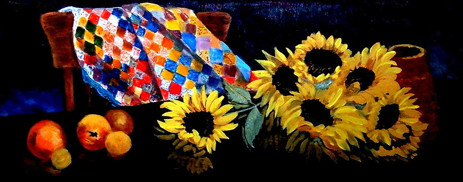 Still Life Painting - Grandmothers Quilt by Jean Ann Curry Hess