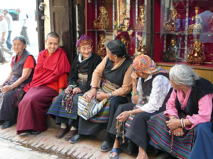 Tibet Photograph - Grandmothers Talk After Morning Prayer by Dagmar Batyahav