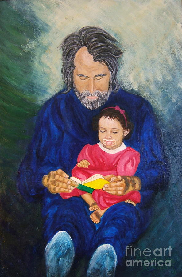 Portrait Painting - Grandpa Reads A  Story by Nancy Rucker