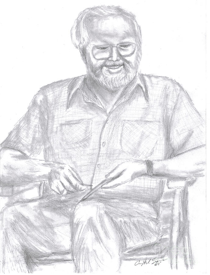 Grandpa Widdling Drawing by Crystal Sons