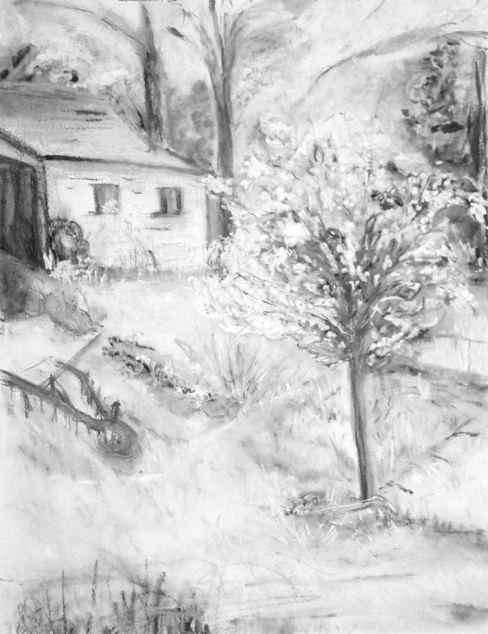 Backyard Painting - Grandpas Backyard Iv by Helena Bebirian