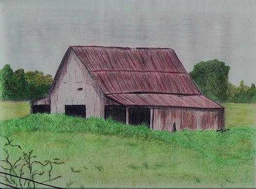 Grandpas Barn Drawing by Rhonda  Yesel