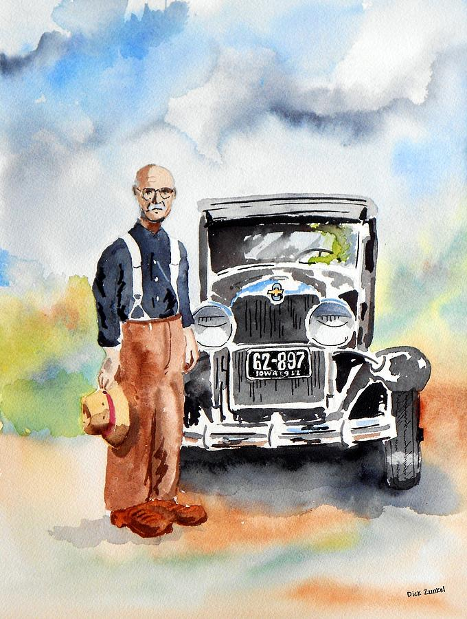 Senior Citizen Painting - Grandpas Chevy by Richard Zunkel