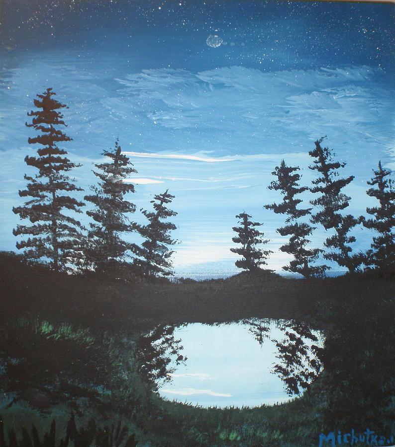 Folk Painting - Grandpas Piney Pond by Susan Michutka