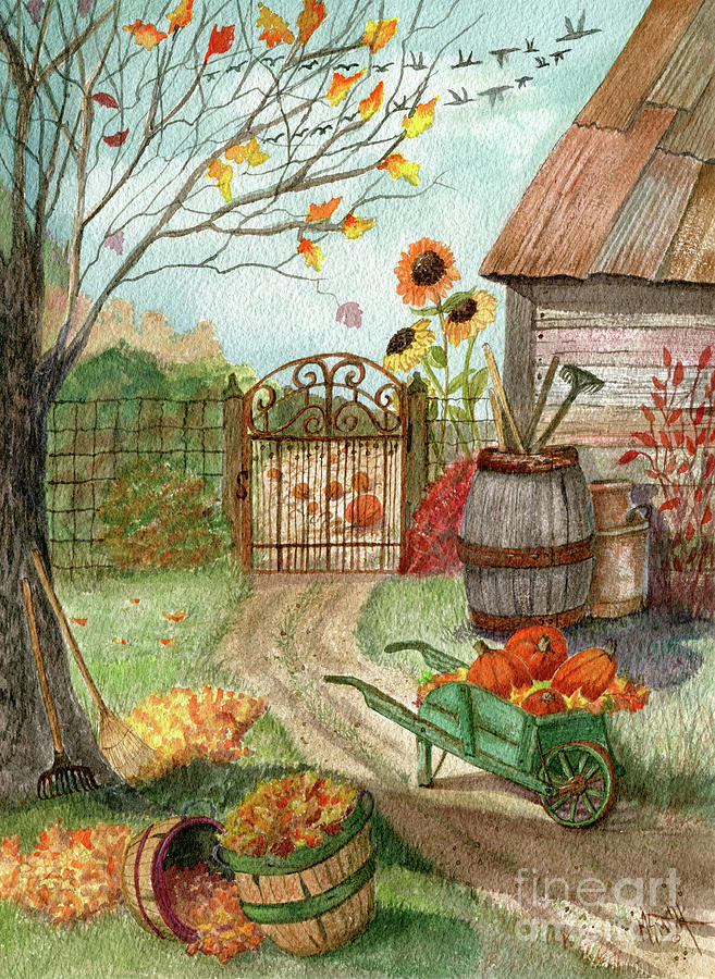 Autumn Painting - Grandpas Pumpkin Patch by Marilyn Smith