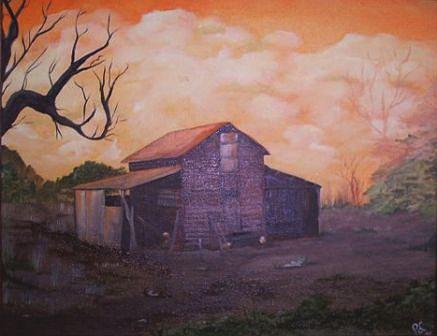 Landscape Painting - Grandpas Shed by Pat  Corbett