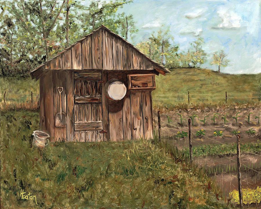 Barn Painting - Grandpas Smokehouse by Helen Eaton