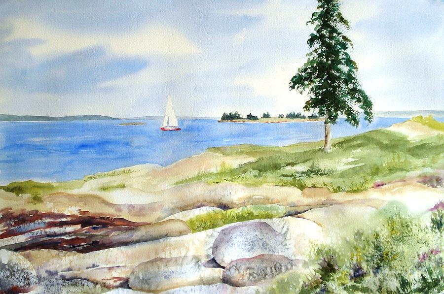 Maine Painting - Granite Ledges II by Diane Kirk