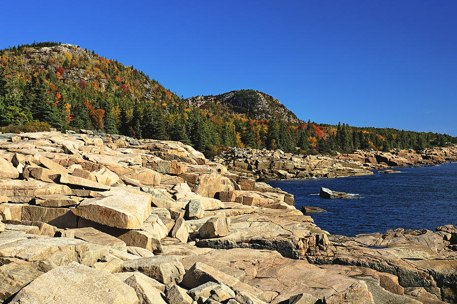 Acadia Photograph - Granite Rocks At The Coast by George Oze