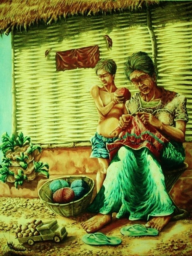 Granny And Grand Son Painting - Granny And Grand Son by Pralhad Gurung